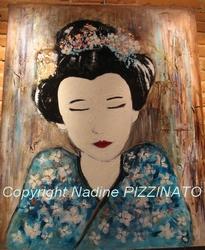 Le rêve de la Geisha n°242 - 81x100 - technique mixte - 550 €