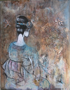 Méditation de la Geisha n°295 - 110x70 - technique mixte - 500 €